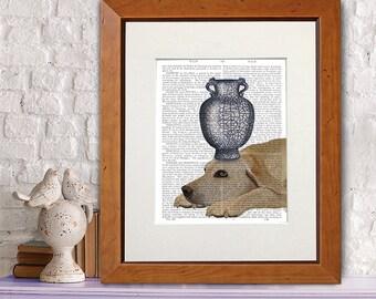 labrador retriever art print labrador retriever wall art labrador retriever gift - Blue and white Vase - chinese vase whimsical dog art