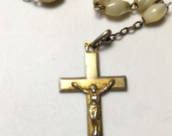Vintage Sterling French Rosary Emelie Engraved on Crucifix Mother of Pearl Beads Art Deco or Earlier