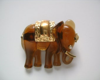 Adorable Vintage Lucky Good Luck Elephant Faux Tortoise Lucite Embellished With Golden on The Body Tusks Forehead Rhinestone Eye Brooch Pin