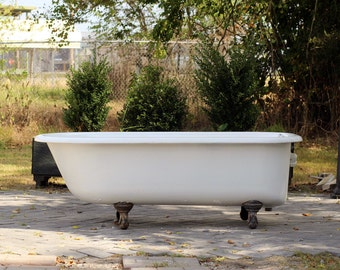 Large 5.5' Antique Refinished Clawfoot Bathtub White Cast Iron Porcelain Claw Bathtub Package