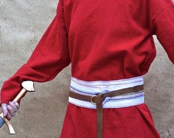 Rainbow Linen Sash SA34 - LARP Belt - Pirate Costume Accessories - White Sash - Guatemalan Textiles - Ikat Fabric Sash - White Woven Belt