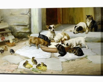 Puppies Cats Chicks Home Decor Canvas Print Wall Decor Lunch Trood Canvas Wall Art Print Ready To Hang
