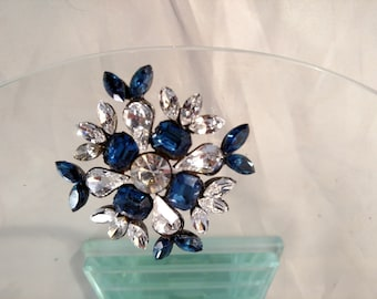 Sparkling Blue and Crystal Brooch, Black Colored Metal, Unsigned