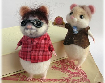 Hannibal Will Graham Hamsters 'Hamibal and Will Gray-ham' needle felted ornaments home decor TV Geekery Spoof Soft Sculpture