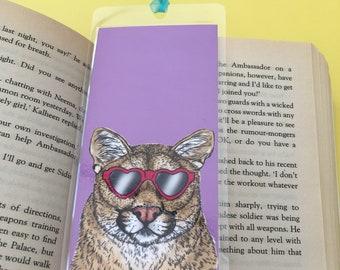 Daiquiri the couger handmade laminated bookmark, heart sunglasses, fun summer bookmark, book lover gift
