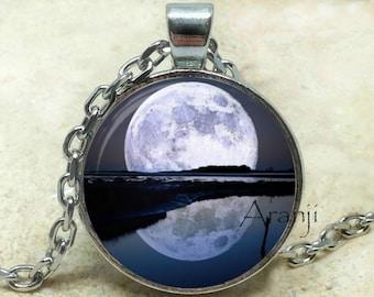Full moon art pendant, moon necklace, moon pendant, big moon pendant, space pendant, moon jewelry, sci fi pendant, Pendant #SP199P