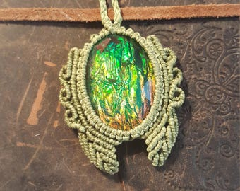 Shades of Green Macrame Necklace