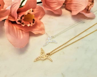 humming bird, bird necklace, Hummingbird necklace,hummingbird, Origami hummingbird, origami necklace, minimalist necklace, bird jewellwery