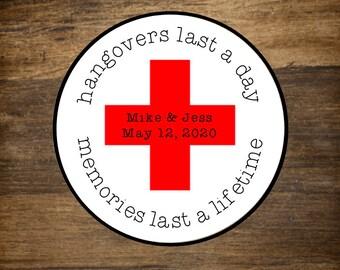 Hangover Kit favors, set of 20, personalized favor label, bachelorette party favor, bachelor party favor, Memories Last Forever, red cross
