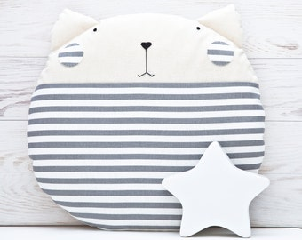 Gray Floor Cushion Striped Cat Pillow Baby Room Round Pillow Cat Decorative Pillow Gray Nursery Decor Nautical Nursery Decor floor pillow