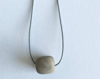 Gray Clay Single Bead Necklace