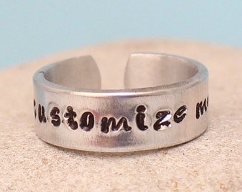Customized / Personalized Adjustable Ring.. Aluminum ring.. hand stamped ring.. Best Gift.. YOu WiLL LOvE iT