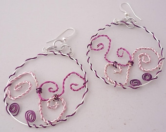 Pink and Purple Wire Work Spiral Earrings -- Curls of Color