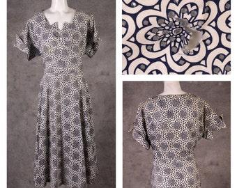 Vintage 1950s Print Eyelet Dress w/ Rhinestones