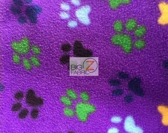 Purple/Multi Color Paw Fleece Printed Fabric - By The Yard Warm Puppy Blanket Clothing Decor Animal Dog