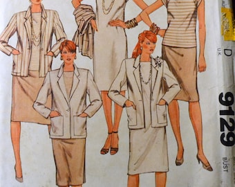 UNCUT Vintage 1984 Misses' Separates Sewing Pattern McCall's 9129 Misses' Jacket, Skirt, Dress, and Top Bust 32 inch Complete Uncut