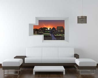 Blocky World Window Set 2 - Shot 6 Vinyl Wall Decal
