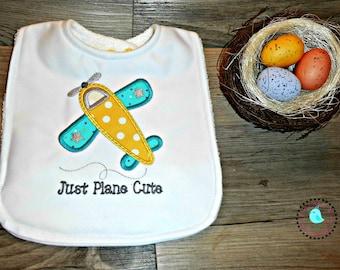 """Bib, Precious """"Plane Cute""""  Embroidery Design"""
