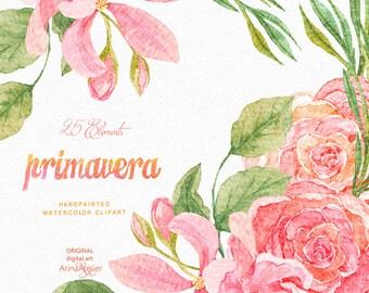 Primavera Flowers Watercolor Clipart - Spring Flowers Clipart - Floral Clipart, Wedding Flowers, Wedding Invitation, DIY Invitations, Prints