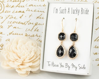 Long Black Gold Teardrop Earrings, Gold Black Earrings, Black Gold Earrings, Bridesmaid Jewelry, Black Wedding Jewelry, Bridal Accessories