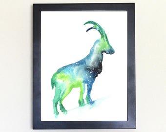 Mountain Goat Galaxy Spirit Animal Watercolor Art Print 8x10