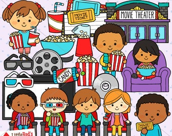 Movie Night Clip Art and Lineart - personal and commercial use