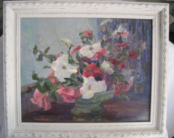 Oil on Board Still Life Painting Floral Framed Pinks Greens Purples Rose Blush and White Signed Early California Artist
