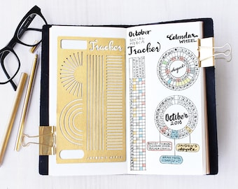 Bullet Journal Stencil, Calendar Wheel Stencil, Monthy Tracker Stencil, Habits Tracker Stencil - fits A5 journal & Midori Regular (CW L)