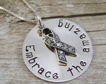 Hand Stamped Jewelry - Autism Awareness - Embrace the amazing - Sterling Silver Necklace - Personalized Jewelry