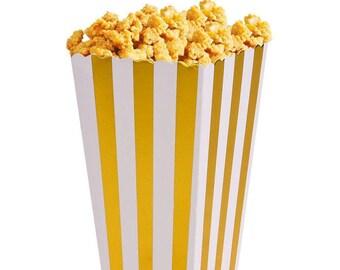 12/ Striped Foil Gold Party Mini Popcorn Boxes/ favor boxes / treat boxes