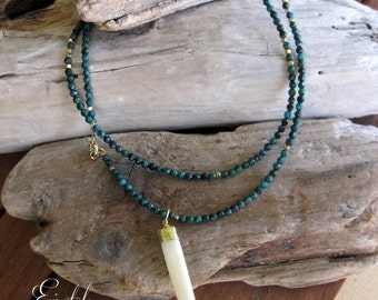 """Rosary style Long Green  Chrysocolla necklace with white buffalo horn  - """"Celine"""""""