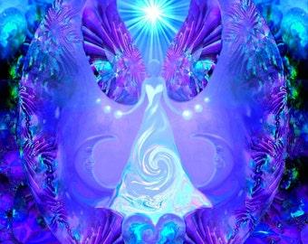 "Violet Angel Art, Purple Third Eye, Reiki Energy Art Wall Decor ""Hope"""