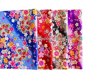 Lot of fabrics with cherry blossom cotton blue purple red black - Japanese fabric flowers - fabric patchwork 50x50cm (x 4) FQ12