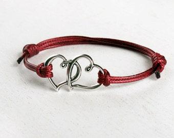 Double Heart Bracelet, Heart to Heart Bracelet (many cord colors to choose)