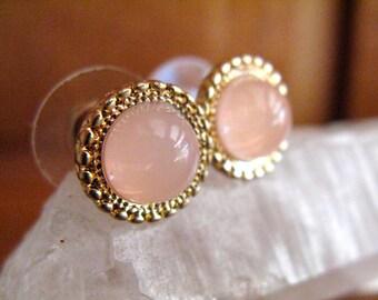 Beautiful Vintage Pink Faux-stone Cabochon Bezel Stud Earrings