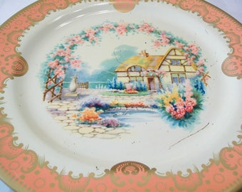 SALE - Vintage Cottage Baret Ware Plate, Metal, Made in England