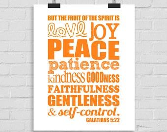 Christian Wall Print Decor, Bible Verse Wall Art, Bible Typography, Scripture Wall Art, Digital Download, Fruit of the Spirit Galatians 5:22