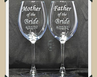 Mother of the Bride or Father of the Bride Wedding Etched Glass Wine Glasses, MOB, FOB by Jackglass on Etsy