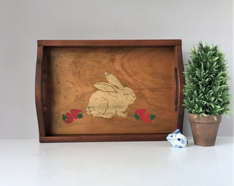 Vintage Stenciled Tray, Rectangular Wooden Tray, Rabbit and Strawberries, Rustic Serveware, Whimsical Easter Bunny Motif, Farmhouse Decor