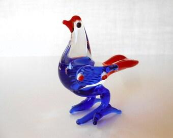 Vintage Blown Glass Hen Blue & Red Standing, Art Glass Bird 1960s Made in Japan / Art Glass Hen / Lampwork Hen / Hand Blown Hen / Glass Bird