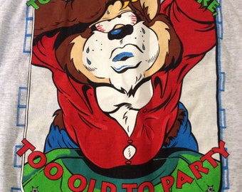 Vintage 90s Taz too young to retire too old to party comic cartoon t-shirt size XL nwt deadstock