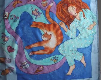 Hand painted silk scarf. Silk shawl scarf. Sleeping with a cat silk scarf. Square silk scarf. Red cat scarf. Ready to ship.
