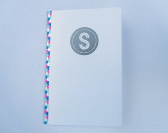 Lined Notebook, Pretty Metallic Silver Custom Monogram, with Metallic Spine and Shimmery Paper
