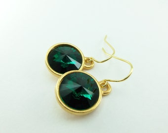 Emerald Birthstone Earrings Crystal Drop Earrings Gold Dangle Earrings May Birthstone Jewelry May Birthday