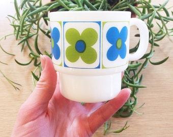 Vintage flower mug/70s green and blue flower mug