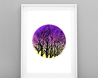 Tree Art Print Download/ Sunset Digital Print/ Art Instant Download/ Printable Original Art/ Downloadable Print/ Home Decor Art/ Pen Art