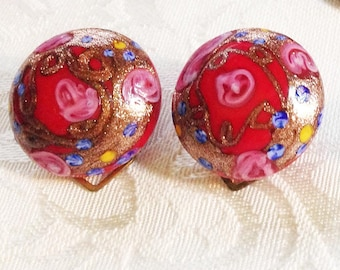 SALE 10.00 Red Handpainted MURANO Earrings - Made in ITALY * Clip *
