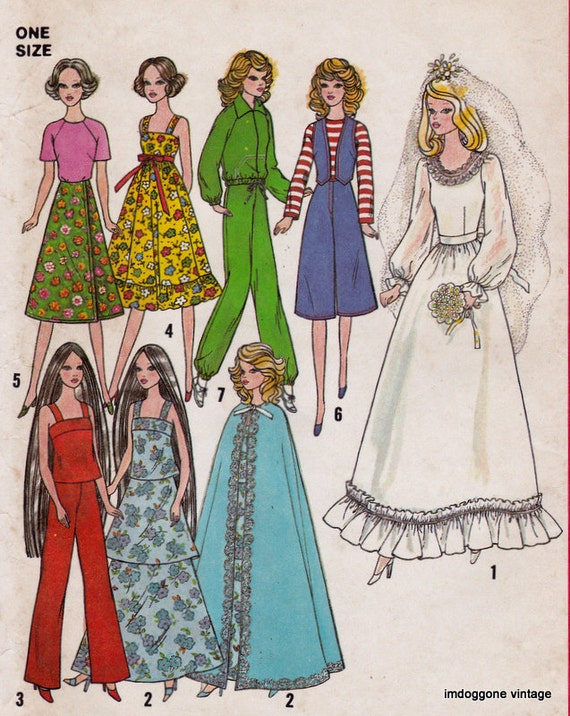 Simplicity 8281 Vintage Doll Clothes Sewing Pattern, Barbie Doll ...