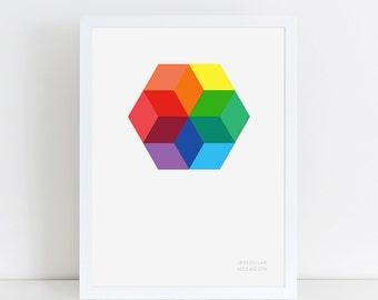 Hexagon Colour Theory Geometric Print