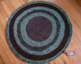 Handspun Hand Crocheted Wool Rug